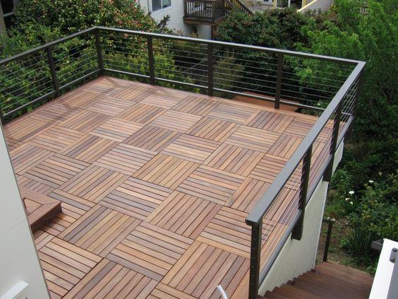 Install Wood Deck Tiles